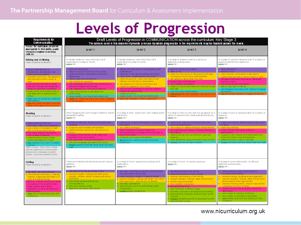 Levels of Progression www.nicurriculum.org.uk