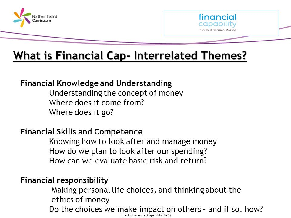 JBlack - Financial Capability (APO) Financial Knowledge and Understanding Understanding the concept of money Where does it come from.