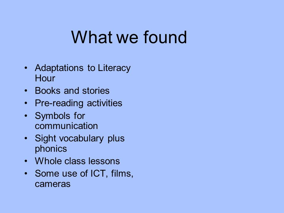 For those with PMLD we found examples of: Objects of Reference Communication Passports Sensory Stories Personal Stories Life Quilts Memory Boxes Websites Picture books Theatre and Drama Technology Multimedia