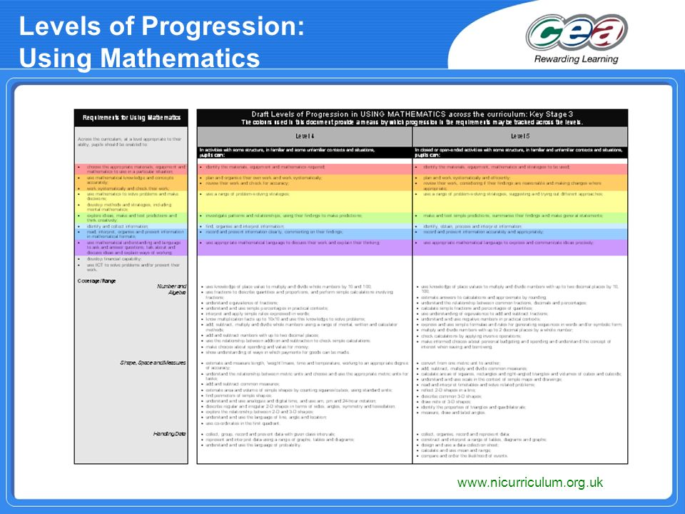 Levels of Progression: Using Mathematics www.nicurriculum.org.uk