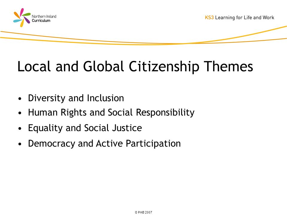 © PMB 2007 Diversity and Inclusion Human Rights and Social Responsibility Equality and Social Justice Democracy and Active Participation Local and Global Citizenship Themes