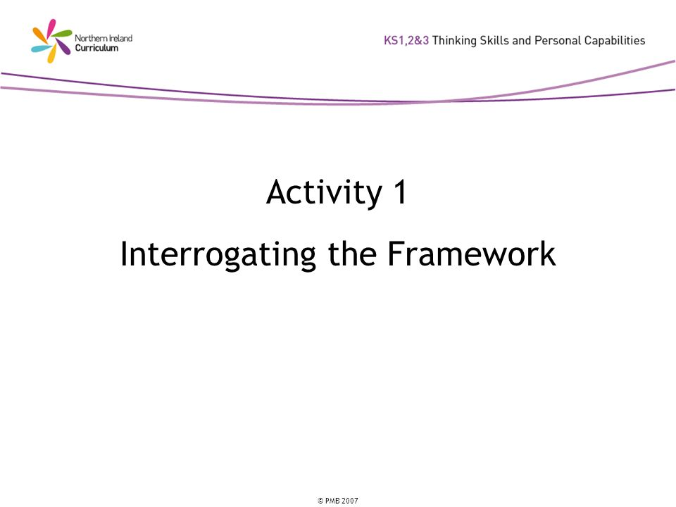 © PMB 2007 Activity 1 Interrogating the Framework