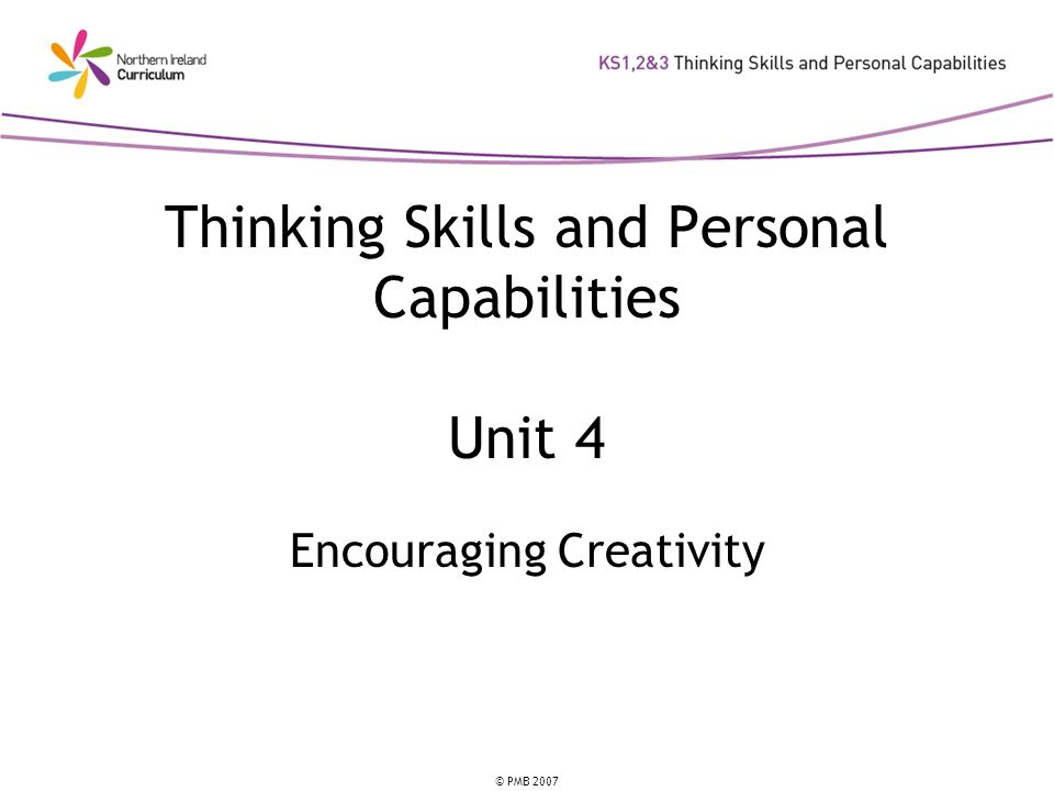 © PMB 2007 Discussion Point Which mind-sets could you develop to encourage creativity in your subject/classroom?