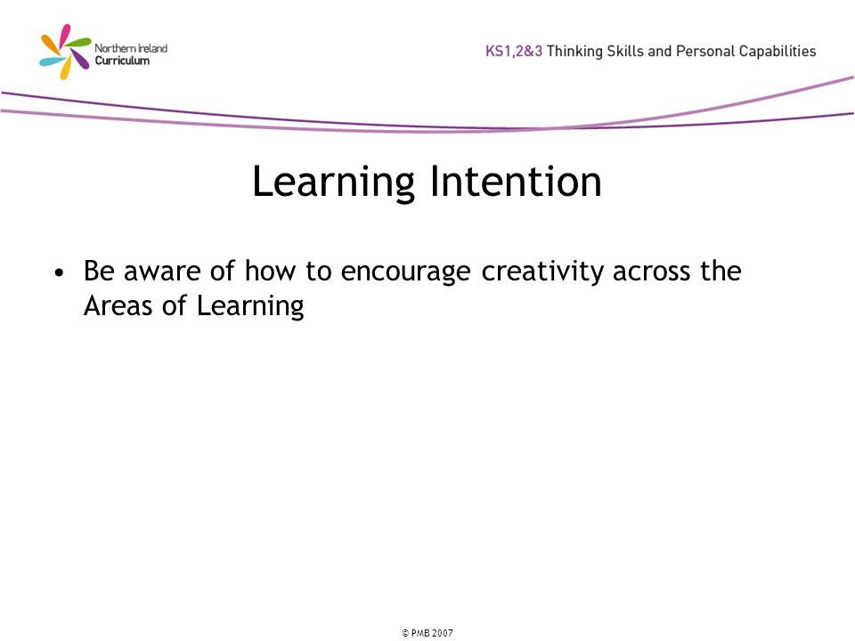 © PMB 2007 Learning Intention Be aware of how to encourage creativity across the Areas of Learning