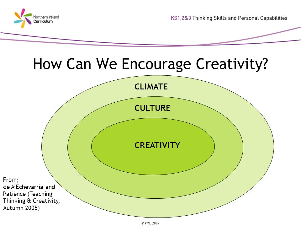 © PMB 2007 How Can We Encourage Creativity? CLIMATE CULTURE CREATIVITY From; de AEchevarria and Patience (Teaching Thinking & Creativity, Autumn 2005)