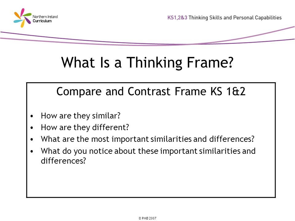 © PMB 2007 What Is a Thinking Frame? Compare and Contrast Frame KS 1&2 How are they similar? How are they different? What are the most important simil