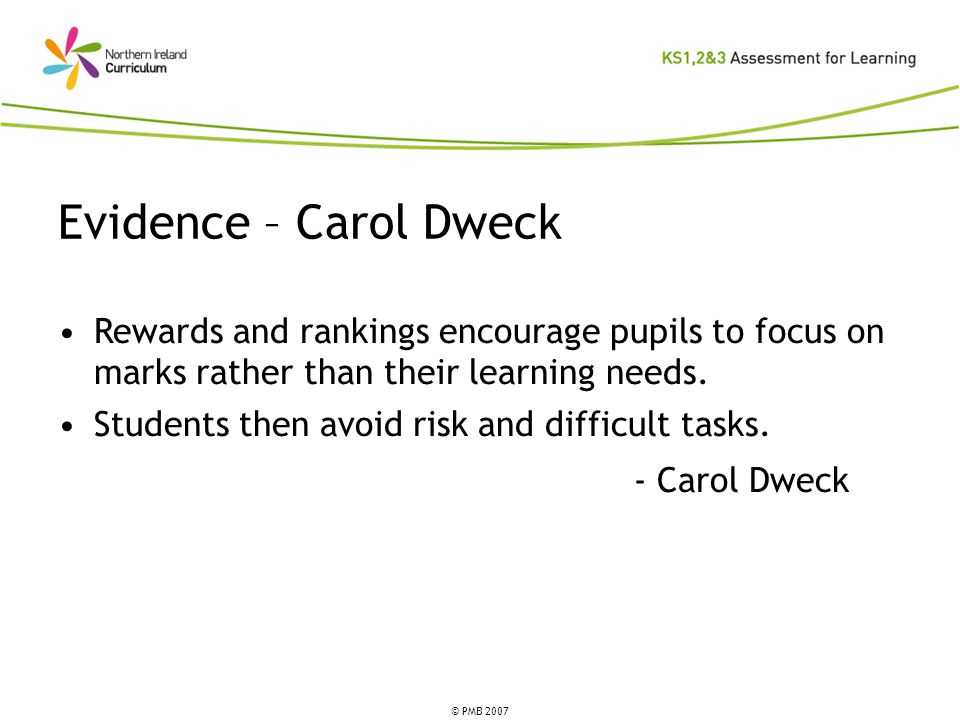 © PMB 2007 Rewards and rankings encourage pupils to focus on marks rather than their learning needs. Students then avoid risk and difficult tasks. - C