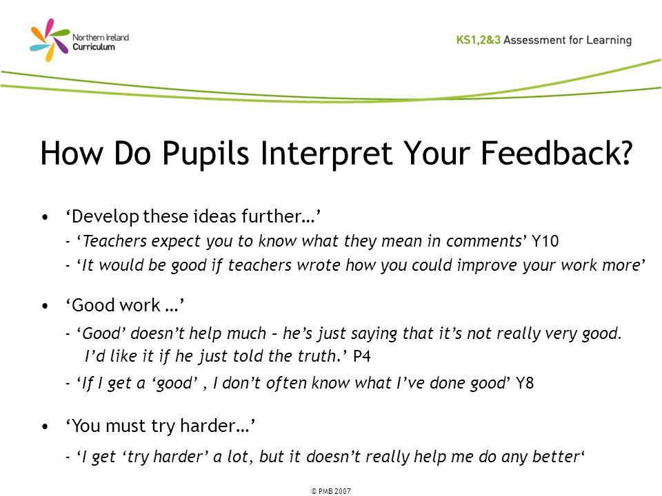 © PMB 2007 How Do Pupils Interpret Your Feedback.