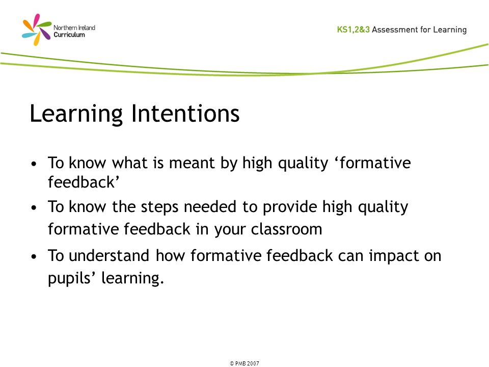 © PMB 2007 Learning Intentions To know what is meant by high quality formative feedback To know the steps needed to provide high quality formative feedback in your classroom To understand how formative feedback can impact on pupils learning.