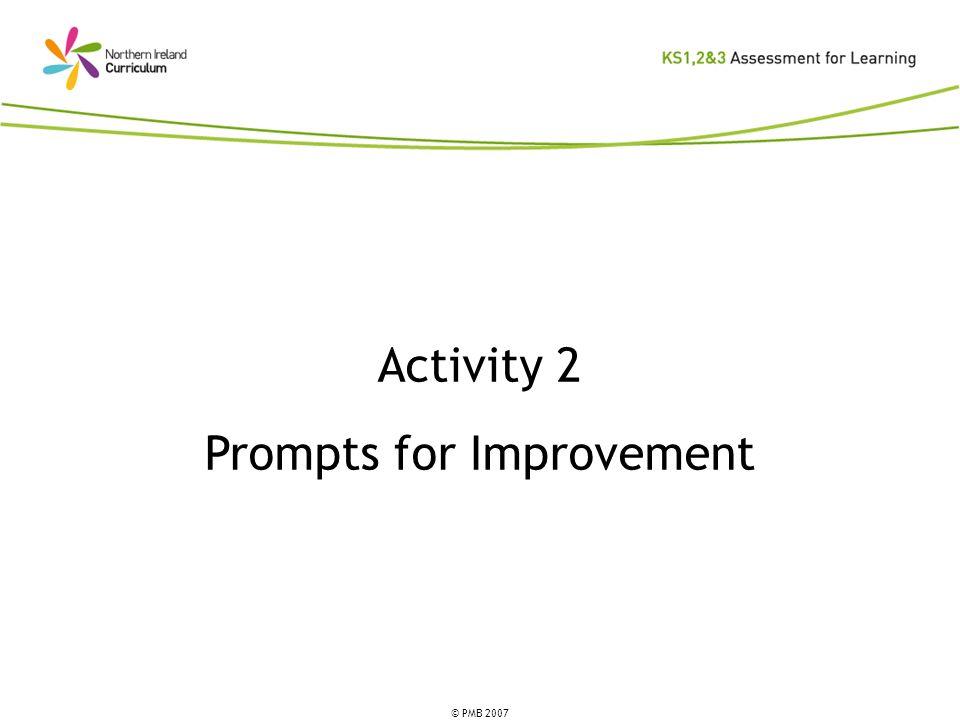 © PMB 2007 Activity 2 Prompts for Improvement