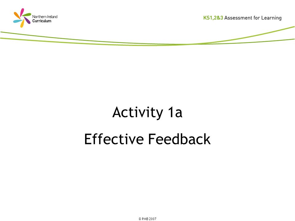 © PMB 2007 Activity 1a Effective Feedback