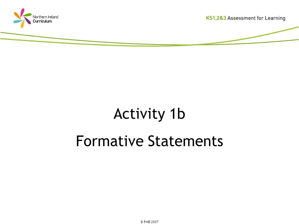 © PMB 2007 Activity 1b Formative Statements
