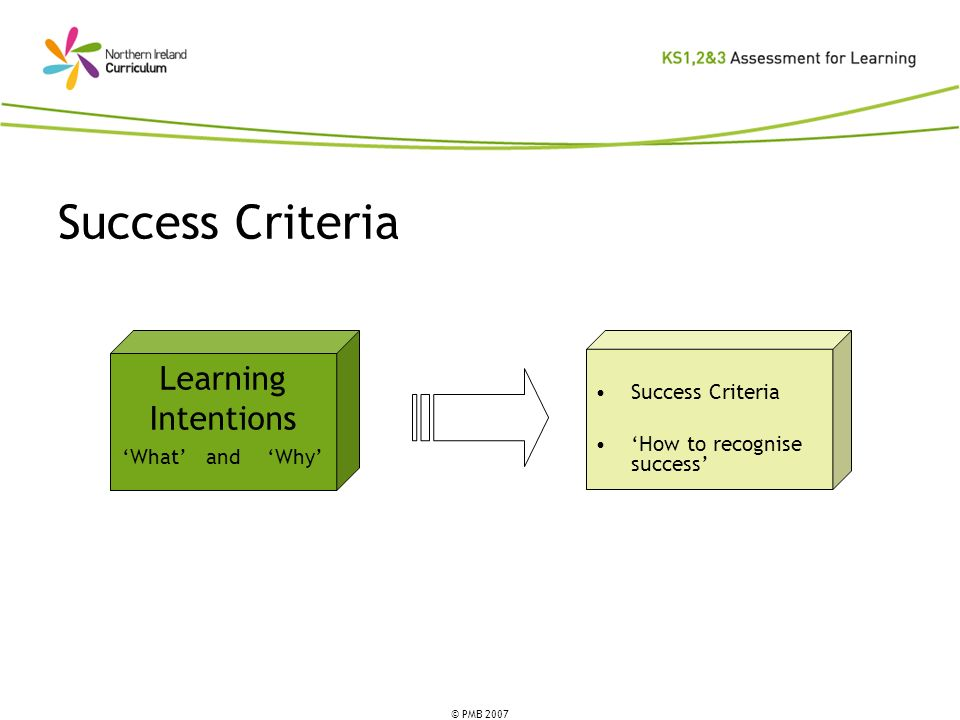 © PMB 2007 Success Criteria How to recognise success Learning Intentions What and Why