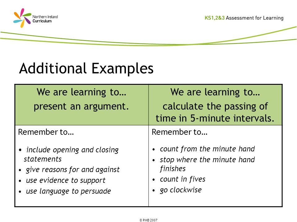 © PMB 2007 Additional Examples We are learning to… present an argument. We are learning to… calculate the passing of time in 5-minute intervals. Remem
