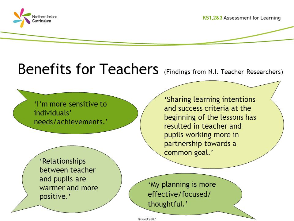 © PMB 2007 Benefits for Teachers (Findings from N.I. Teacher Researchers) Sharing learning intentions and success criteria at the beginning of the les