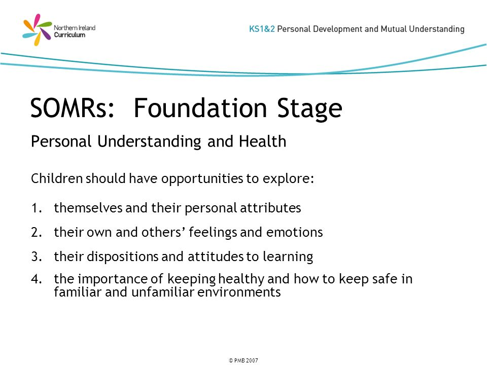 © PMB 2007 SOMRs: Foundation Stage Mutual Understanding in the Local and Wider Community Children should have opportunities to explore: 5.their relationships with family and friends 6.their responsibilities for self and others 7.how to respond appropriately in conflict situations 8.similarities and differences between groups of people 9.learning to live as a member of a community
