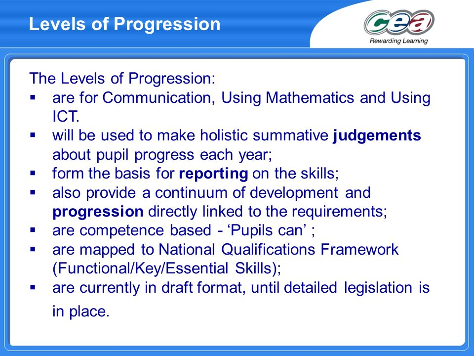 Levels of Progression The Levels of Progression: are for Communication, Using Mathematics and Using ICT. will be used to make holistic summative judge