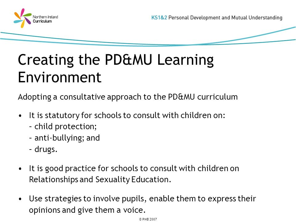 © PMB 2007 Adopting a consultative approach to the PD&MU curriculum It is statutory for schools to consult with children on: – child protection; – anti-bullying; and – drugs.