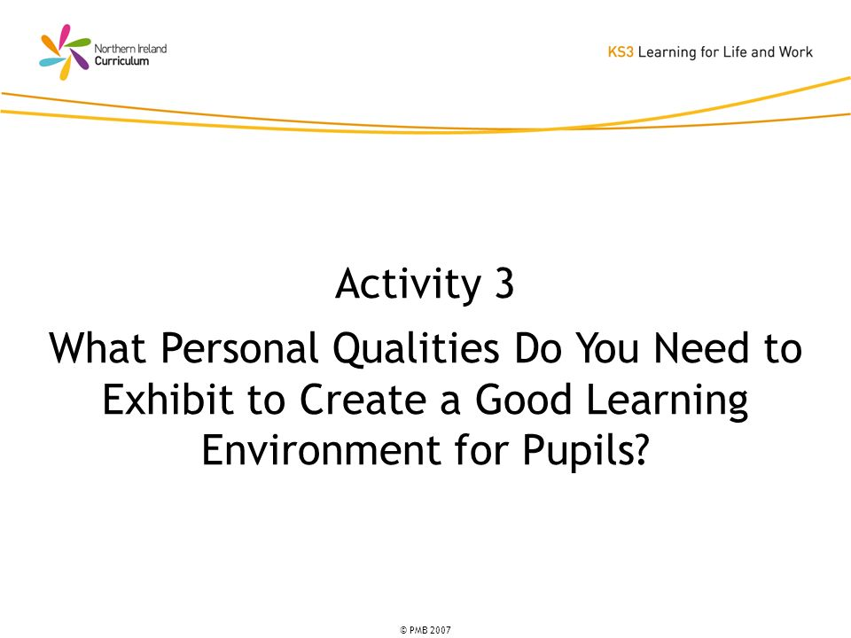 © PMB 2007 Activity 3 What Personal Qualities Do You Need to Exhibit to Create a Good Learning Environment for Pupils