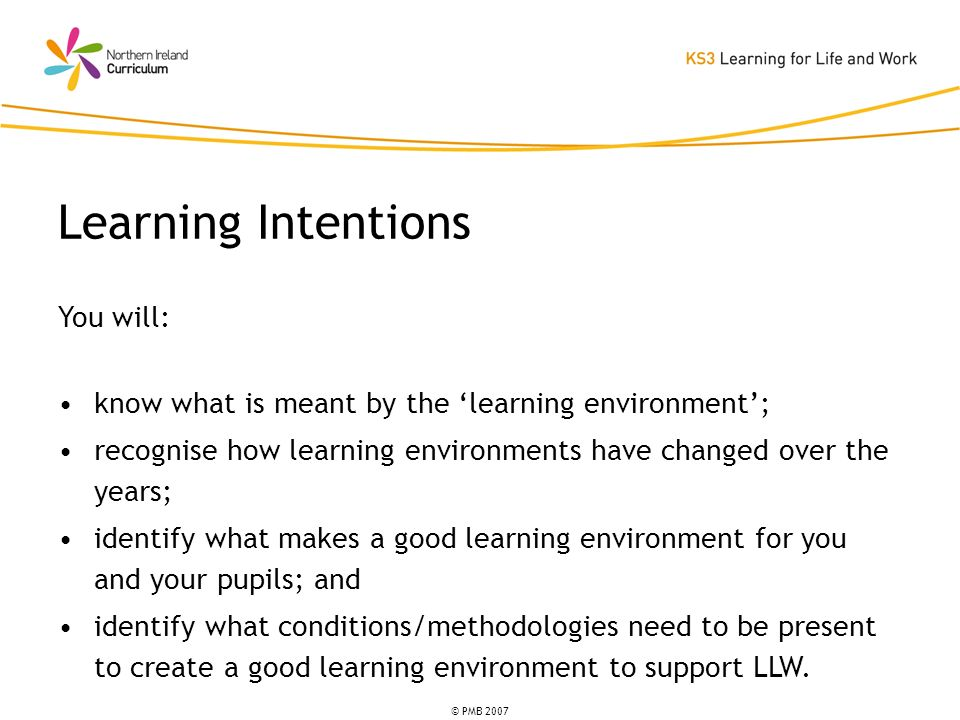 © PMB 2007 You will: know what is meant by the learning environment; recognise how learning environments have changed over the years; identify what makes a good learning environment for you and your pupils; and identify what conditions/methodologies need to be present to create a good learning environment to support LLW.