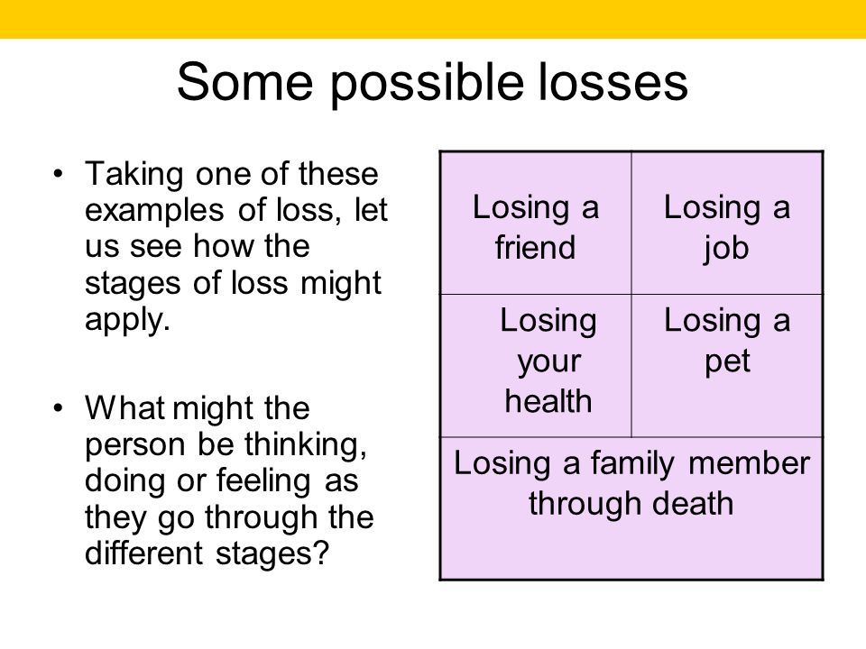 Some possible losses Taking one of these examples of loss, let us see how the stages of loss might apply. What might the person be thinking, doing or