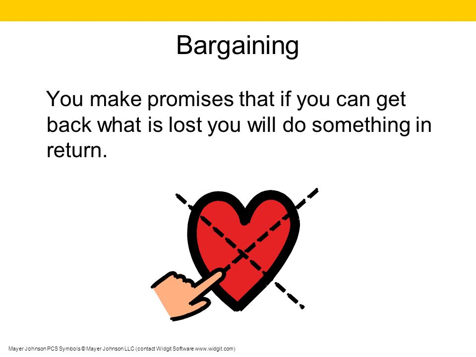 Bargaining You make promises that if you can get back what is lost you will do something in return. Mayer Johnson PCS Symbols © Mayer Johnson LLC (con