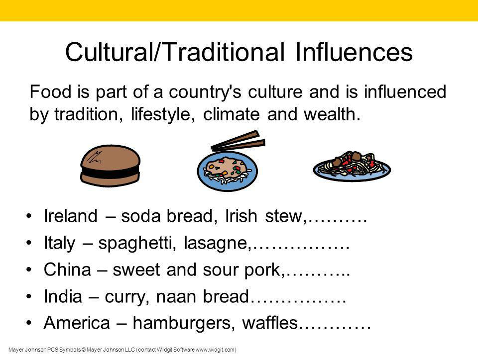 Cultural/Traditional Influences Ireland – soda bread, Irish stew,………. Italy – spaghetti, lasagne,……………. China – sweet and sour pork,……….. India – curr