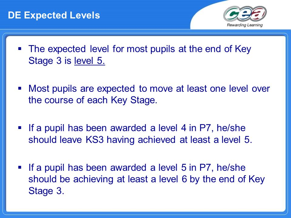The expected level for most pupils at the end of Key Stage 3 is level 5. Most pupils are expected to move at least one level over the course of each K