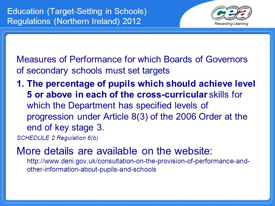 Education (Target-Setting in Schools) Regulations (Northern Ireland) 2012 Measures of Performance for which Boards of Governors of secondary schools m