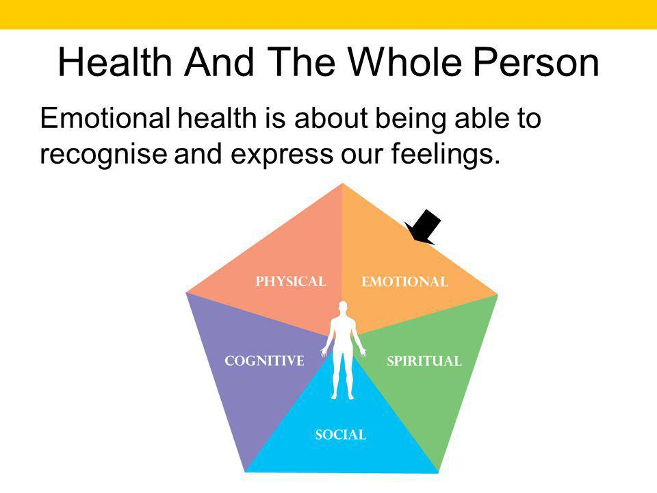 Health And The Whole Person Emotional health is about being able to recognise and express our feelings.