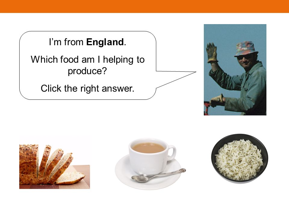 Im from England. Which food am I helping to produce? Click the right answer.