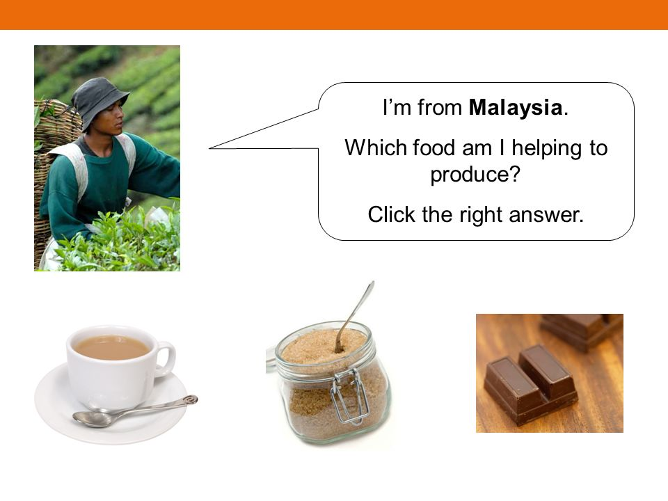 Im from Malaysia. Which food am I helping to produce? Click the right answer.