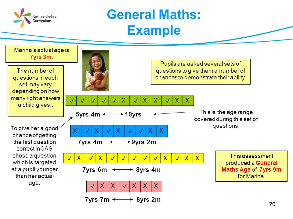 20 General Maths: Example X X X XX This assessment produced a General Maths Age of 7yrs 9m for Marina.