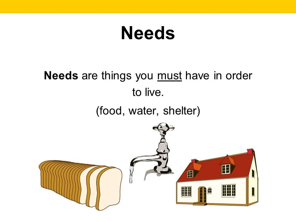 Needs Needs are things you must have in order to live. (food, water, shelter)