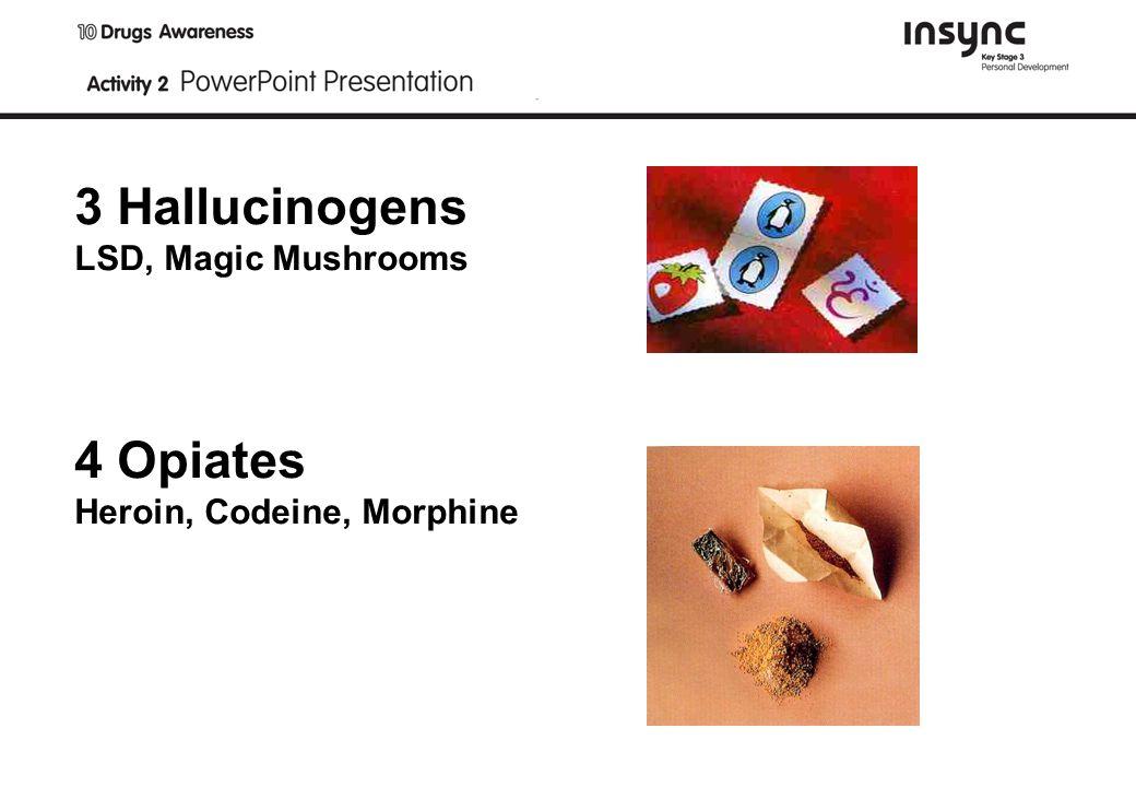 3 Hallucinogens LSD, Magic Mushrooms 4 Opiates Heroin, Codeine, Morphine