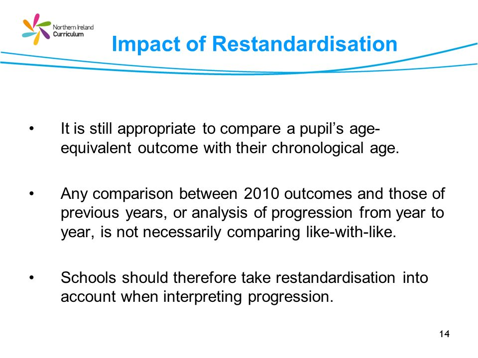 14 Impact of Restandardisation It is still appropriate to compare a pupils age- equivalent outcome with their chronological age. Any comparison betwee