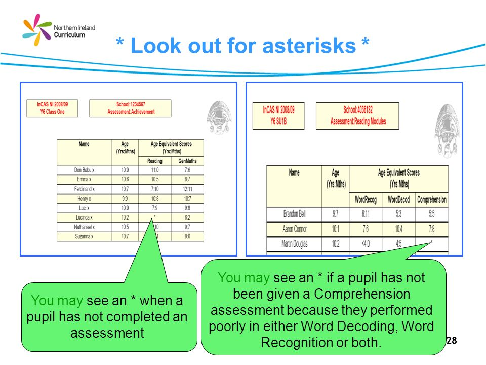 28 * Look out for asterisks * You may see an * when a pupil has not completed an assessment You may see an * if a pupil has not been given a Comprehen