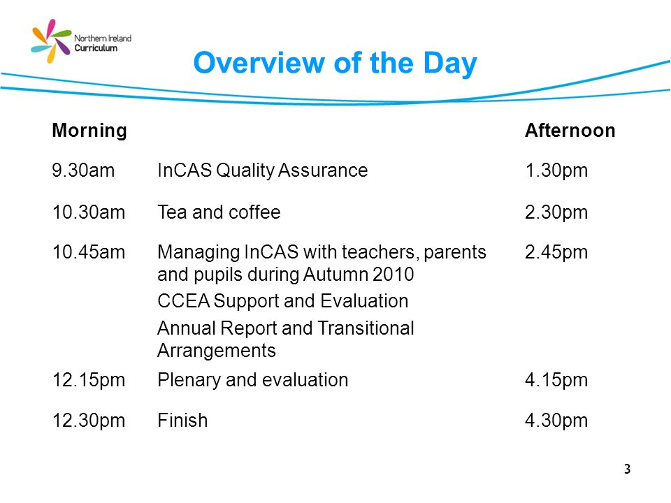 3 Overview of the Day MorningAfternoon 9.30amInCAS Quality Assurance1.30pm 10.30amTea and coffee2.30pm 10.45amManaging InCAS with teachers, parents an