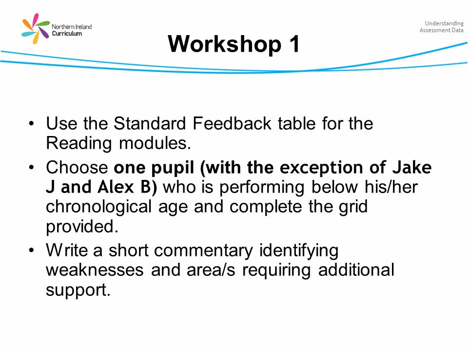 Understanding Assessment Data Workshop 1 Use the Standard Feedback table for the Reading modules. Choose one pupil (with the exception of Jake J and A