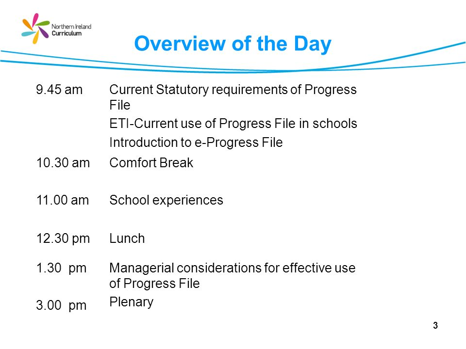 3 Overview of the Day 9.45 amCurrent Statutory requirements of Progress File ETI-Current use of Progress File in schools Introduction to e-Progress Fi