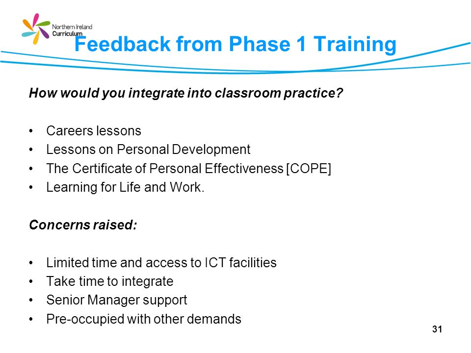Feedback from Phase 1 Training How would you integrate into classroom practice? Careers lessons Lessons on Personal Development The Certificate of Per