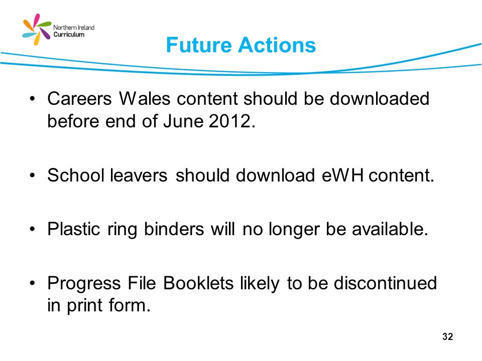 Future Actions Careers Wales content should be downloaded before end of June 2012. School leavers should download eWH content. Plastic ring binders wi