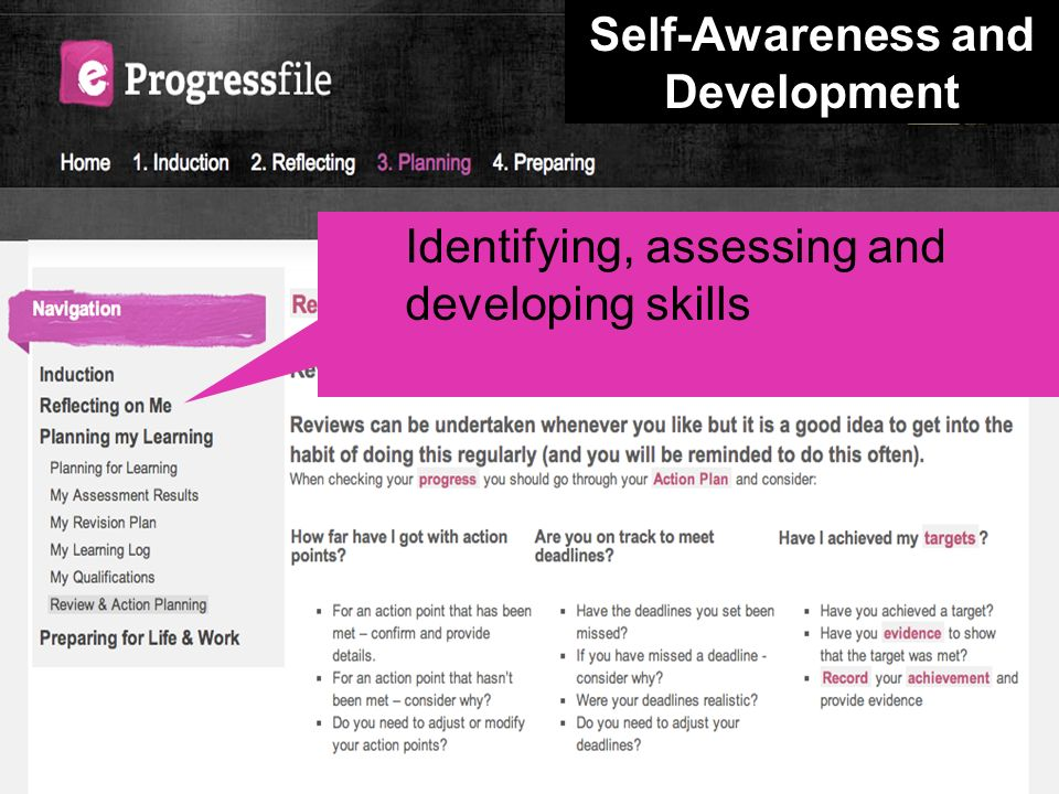 Identifying, assessing and developing skills Self-Awareness and Development
