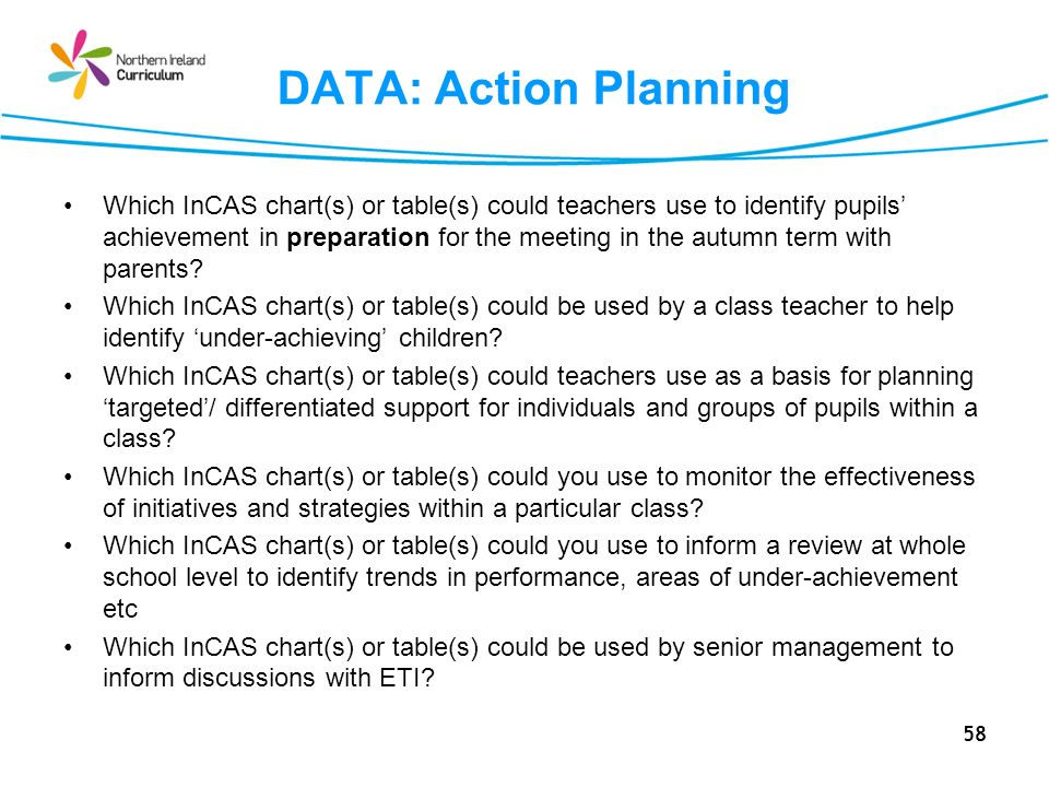 58 DATA: Action Planning Which InCAS chart(s) or table(s) could teachers use to identify pupils achievement in preparation for the meeting in the autumn term with parents.