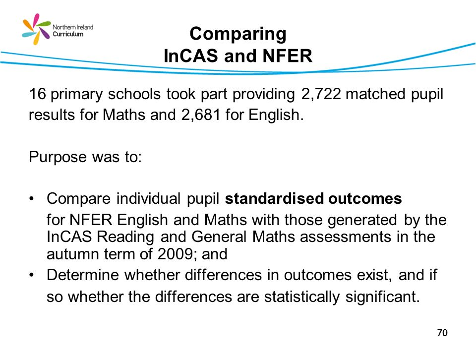70 Comparing InCAS and NFER 16 primary schools took part providing 2,722 matched pupil results for Maths and 2,681 for English.