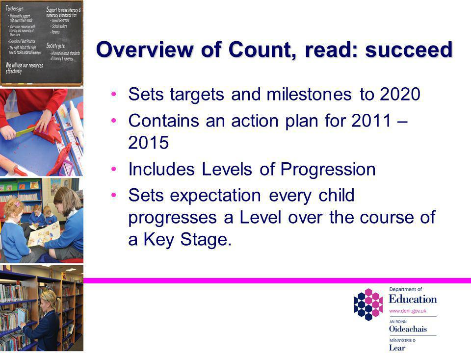 Overview of Count, read: succeed Sets targets and milestones to 2020 Contains an action plan for 2011 – 2015 Includes Levels of Progression Sets expec