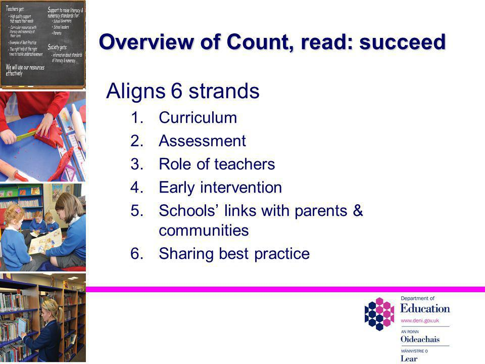 Overview of Count, read: succeed Aligns 6 strands 1.Curriculum 2.Assessment 3.Role of teachers 4.Early intervention 5.Schools links with parents & com