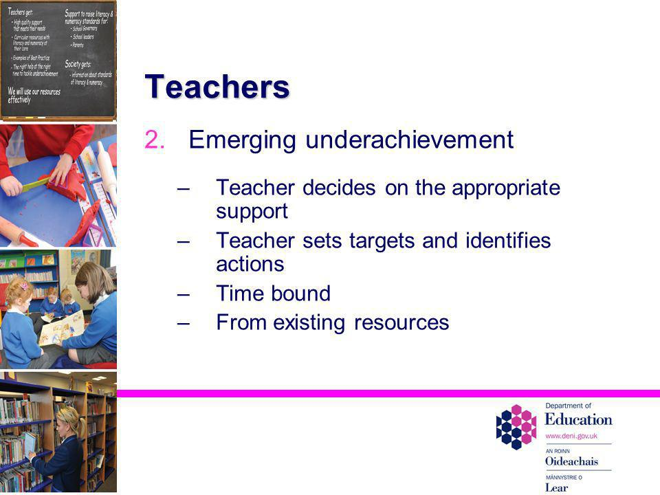 Teachers 2.Emerging underachievement –Teacher decides on the appropriate support –Teacher sets targets and identifies actions –Time bound –From existi
