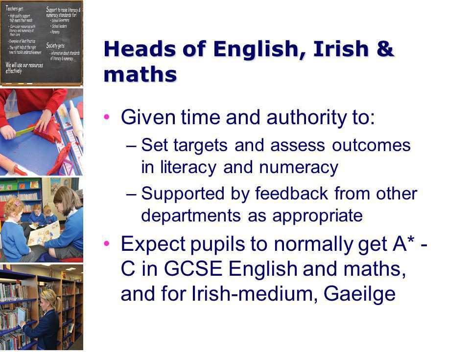 Heads of English, Irish & maths Given time and authority to: –Set targets and assess outcomes in literacy and numeracy –Supported by feedback from oth
