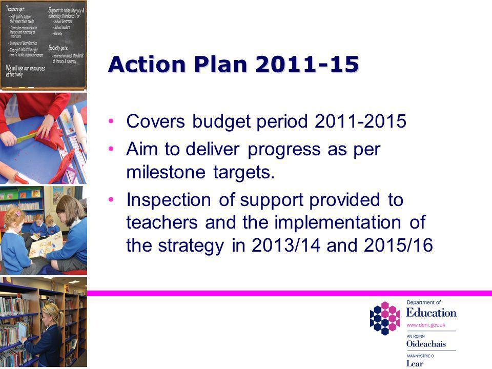 Action Plan 2011-15 Covers budget period 2011-2015 Aim to deliver progress as per milestone targets. Inspection of support provided to teachers and th